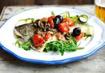 Sea bream with a courgette salad with fresh mint and rocket Recipe