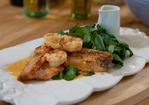 Brown trout with crayfish and watercress sauce Recipe