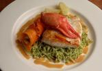 Butter roasted halibut, lobster salad, coriander pasta and a passion fruit sauce Recipe