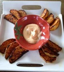 Cajun Roasted Turnip Wedges with Light Spicy Mayo Recipe