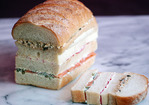 Egg Salad, Salmon, and Radish Sandwich Loaf Recipe
