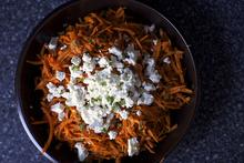 carrot salad with harissa, feta and mint Recipe