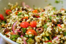mediterranean eggplant and barley salad Recipe
