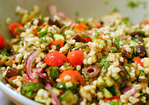 mediterranean eggplant and barley salad Recipe