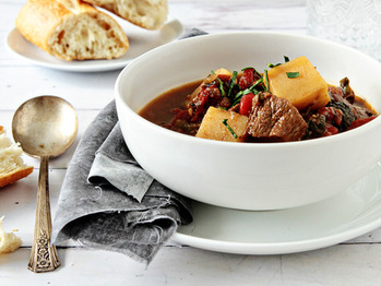 Roasted Poblano Beef Stew Recipe from My Baking Addiction on FoodPair