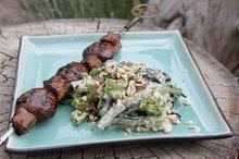 Grilled Zucchini Alfredo with Mushroom and Eggplant Steaks Recipe