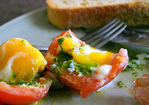 romaine pesto and egg-stuffed tomatoes Recipe