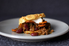 beef chili + sour cream and cheddar biscuits Recipe