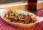 Sweet Potato Fries with Smokey Tea Pork and Shiitake Mayo Recipe