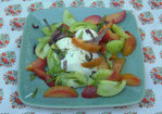 Pluot, Green Tomato and Mozzarella Salad Recipe