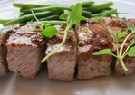 Tender Lamb Brochettes with Thyme and Haricots Verts Recipe