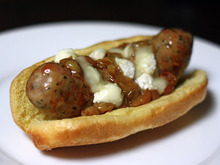 Grilled Italian Sausages with Roasted Grapes and Sheep's Milk Cheese Recipe