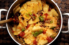 pasta with favas, tomatoes and sausage Recipe