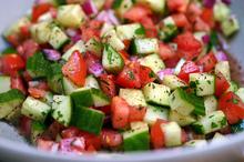 israeli salad + pita chips Recipe