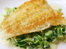 Crispy Cod Cooked 'Unilaterally' with Creamed Leeks Recipe