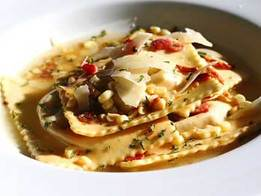 Roasted Vegetable Ravioli with Crispy Pancetta Recipe