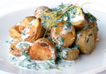Garlic-Roasted Fingerling Potatoes with Buttermilk-Yogurt Herb Dressing Recipe