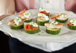 Seafood Cucumber Stacks with Lemon Cream and Chives Recipe