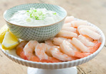 Shrimp Cocktail with Creamy-Spicy Green Onion Dipping Sauce Recipe