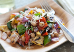 Grilled Summer Vegetable Salad with Chickpeas and Basil Recipe