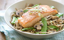 Seared Salmon with Soy-Ginger Noodles and Vegetables Recipe
