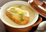 Potato and Leek Soup with Brie Croutons Recipe