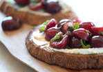 Goat Cheese Bruschetta with Cherries and Mint Recipe