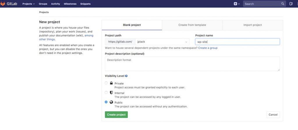 Create repo on Gitlab