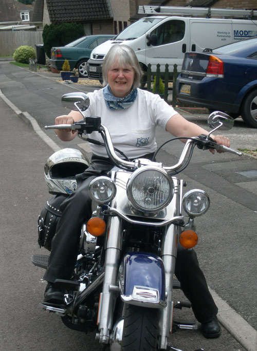 Jane in her motorcycle chaps.