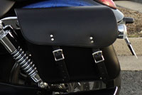 Leather Motorcycle Saddlebags on Campbell's 2013 Triumph Thunderbird.
