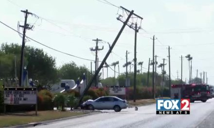 Car Almost Knocks Down Light Pole