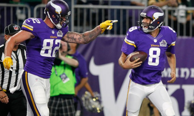 Bradford trumps Rodgers in debut as Vikes beat Pack 17-14