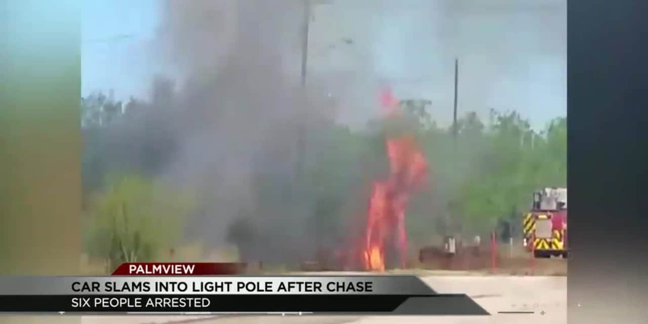 6 Detained After Chase Ends in Flames