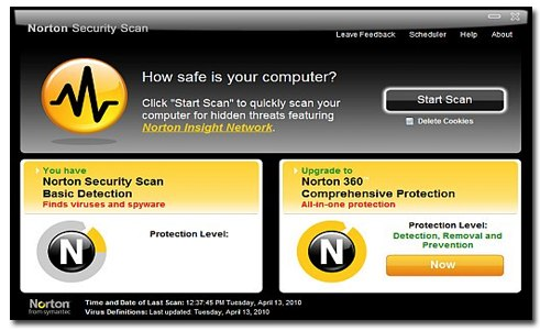 Norton Security Scan Main Screen