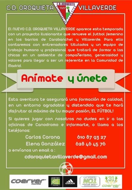C d oroquieta villaverde nuevo proyecto de f tbol femenino for Oficina de empleo carabanchel
