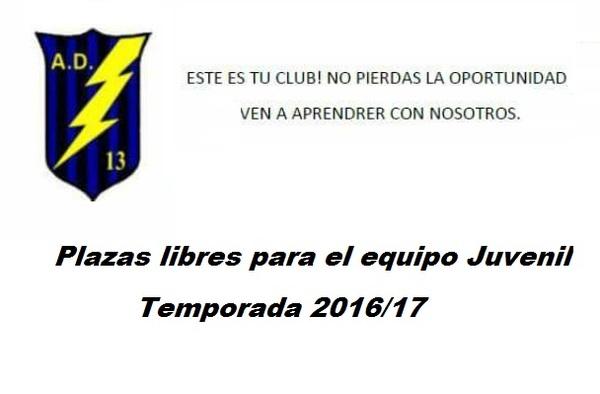 El Rayo 13 Escuela de Fuenlabrada precisa jugadores Juveniles para completar la plantilla - Temporada 2016/17