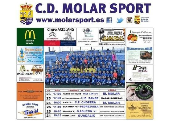 Jornada deportiva de los equipos del C.D. Molar Sport (25 y 26 de febrero de 2017)