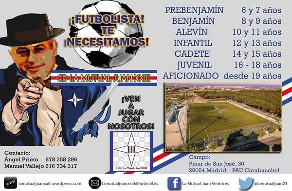 C.D. La Mutual Juan XXIII, captación de jugadores para la temporada 2017/18