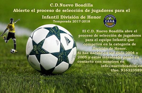 C.D. Nuevo Boadilla busca jugadores de Categoría Infantil para perfilar su plantilla de cara a la temporada 2017/18 en categoría División de Honor