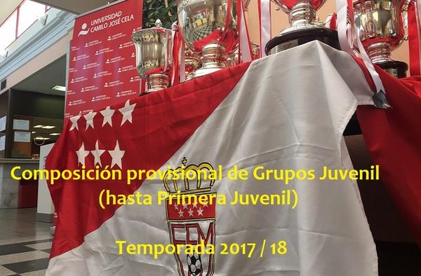 Composición provisional de los grupos en Categoría Juvenil Temporada 2017/18 (Hasta 1ª Juvenil)