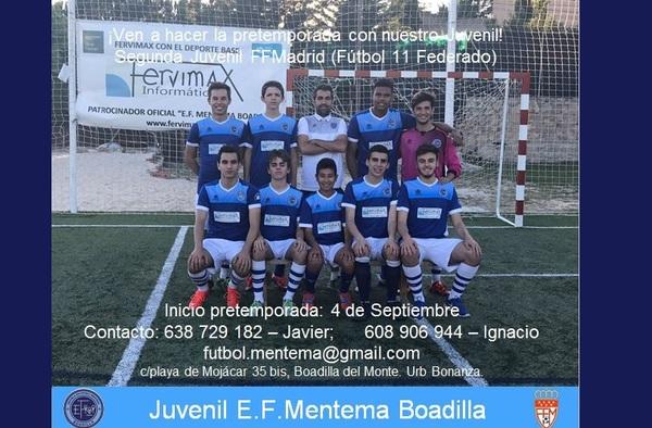 Si queréis jugar al fúitbol en Boadilla del Monte, venir a probar al Juvenil de la EF Mentema Boadilla