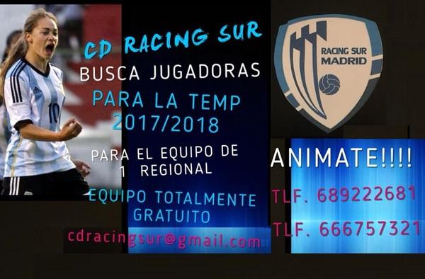 El C.D. Racing Sur Madrid Femenino busca jugadoras para la actual temporada 2017/18