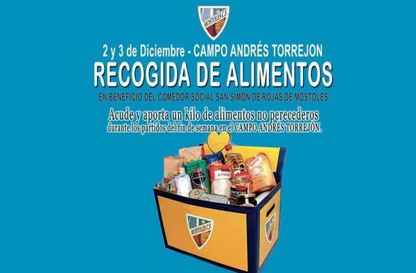 El 2 y 3 de diciembre, jornada Solidaria del Móstoles C.F. con la recogida de alimentos no perecederos en sus partidos