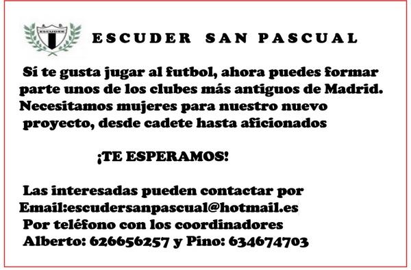 Proyecto deportivo de fútbol femenino en el Escuder San Pascual - ¡¡ Apúntate !!