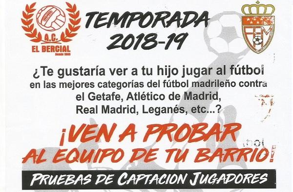 La AC El Bercial comienza las pruebas de captación de jugadores para la temporada 2018/19