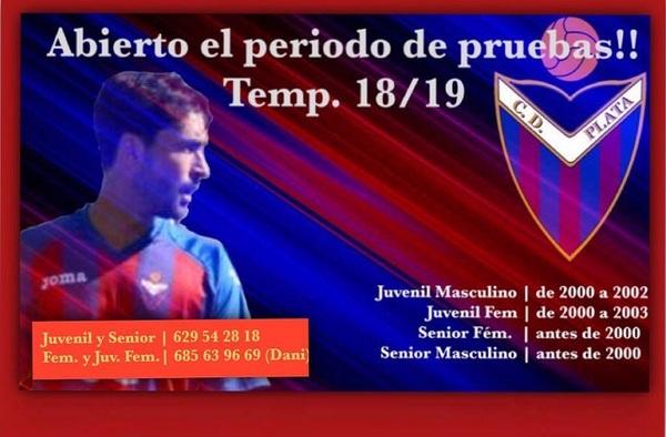 Abierto el periodo de pruebas en el C.D. Plata para la temporada 2018/19