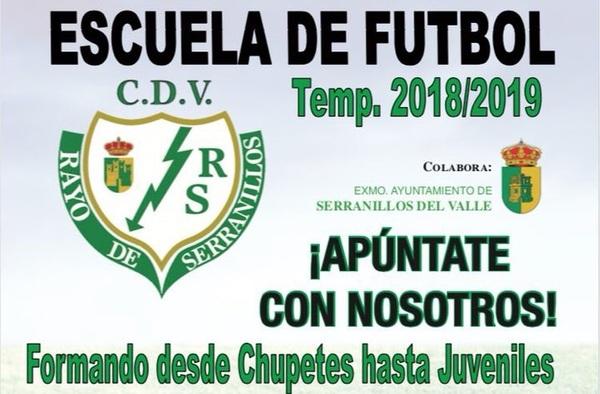 Abierto periodo de inscripciones en la Escuela de Fútbol Rayo Serranillos - Temporada 2018/19