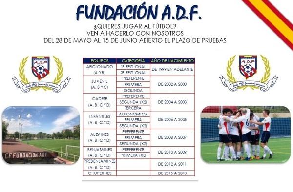 Fundación ADF, abierto el plazo de pruebas para la temporada 2018/19