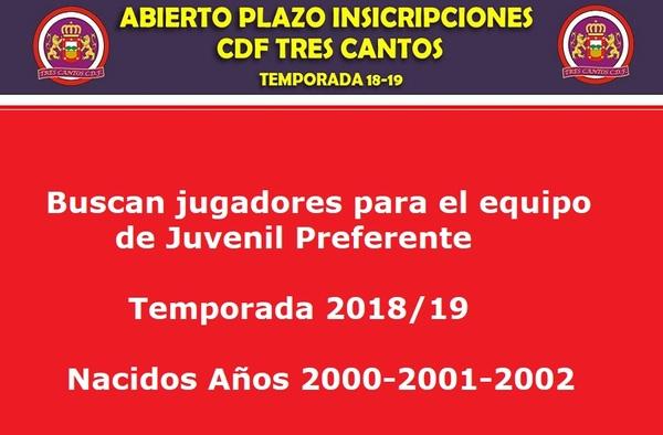 El Tres Cantos C.D.F. busca jugadores para Juvenil Preferente (Temporada 2018-19).