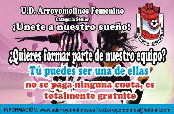 Apúntate al U.D. Arroyomolinos Femenino, no se paga ninguna cuota - Temporada 2018/19